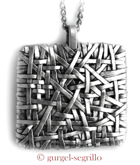handmade jewelley by cork designer p gurgel-segrillo: woven series pendant, in fine silver